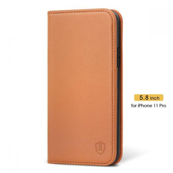 SHIELDON iPhone 11 Pro Wallet Case - iPhone 11 Pro Folio Case - Brown