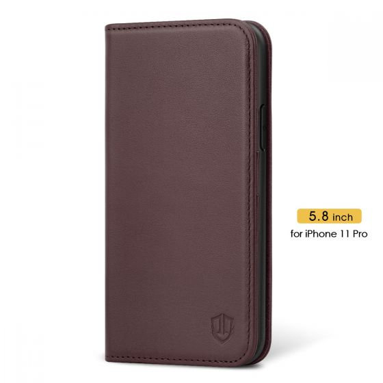 SHIELDON iPhone 11 Pro Case with Card Holder - iPhone 11 Pro Wallet Case for Women - Wine Red