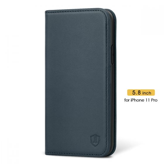 SHIELDON iPhone 11 Pro Wallet Case, Genuine Leather, RFID Blocking, Magnetic Closure - Blue