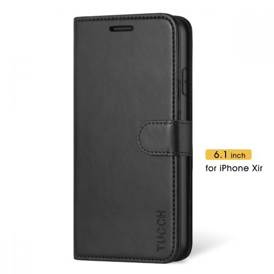TUCCH iPhone 11 Wallet Case for Men, iPhone 11 Leather Cover with Magnetic Clasp - Black