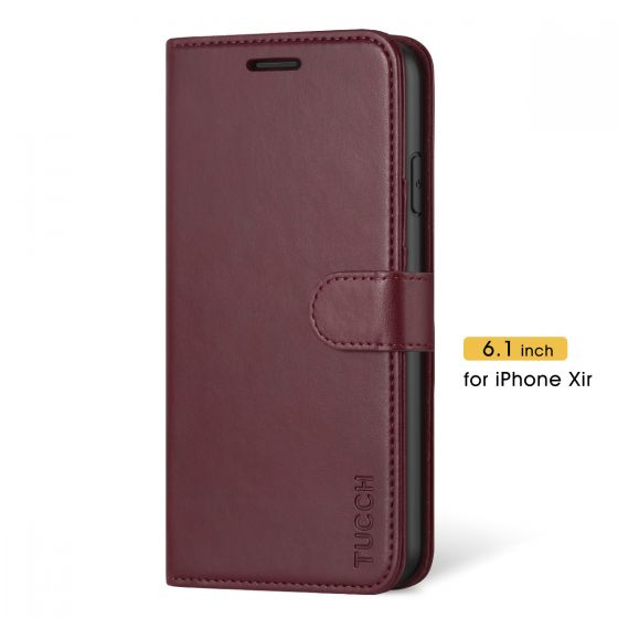 TUCCH iPhone 11 Wallet Case with Strap, iPhone 11 Stand Case with Card Holder - Wine Red