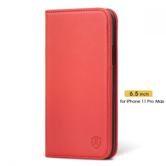 SHIELDON iPhone 11 Pro Max Wallet Case with Magnetic Closure - iPhone 11 Pro Max Leather Cover for Women - Red