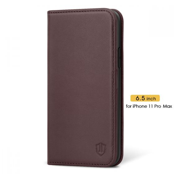 SHIELDON iPhone 11 Pro Max Case with Card Holder - iPhone 11 Pro Max Wallet Case for Women - Wine Red