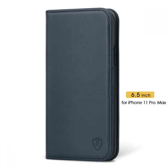 SHIELDON iPhone 11 Pro Max Wallet Case, Genuine Leather, Kick-stand, Magnetic Closure - Blue