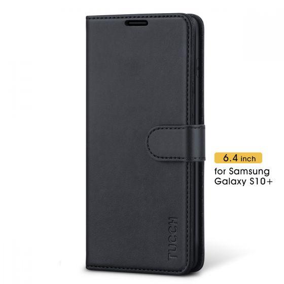 TUCCH Galaxy S10+ Plus Hülle Case Handyhülle als [Brieftasche] Schutzhülle [Softer TPU] RFID Lederhülle Magnet Kartenfach Aufstellfunktion Kompatibel