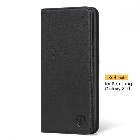 SHIELDON Galaxy S10+ Plus Hülle Schutzhülle [Echtleder] [Softer TPU] Handyhülle Wallet Case [Brieftasche] RFID Lederhülle Magnet Kartenfach Standerfunktion Kompatibel