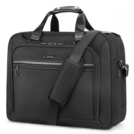 SHIELDON Extra Large 17.3-inch Laptop Bag, 28L Business Briefcase Handbag with Organizer, Water Resistant Messenger Bag, Carry On Computer Bag, Travel Shoulder Bag with Strap for Men and Women - Black