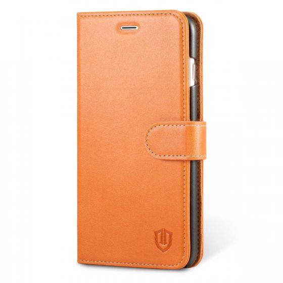 iPhone 7 Plus Hülle, SHIELDON Echtleder Handyhülle iPhone 7 Plus Case mit Kartenfach Magnetverschluss Standfunktion, Cognac Braun
