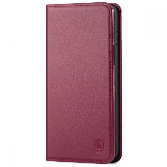 SHIELDON iPhone 8 Plus Wallet Case - iPhone 7 Plus Genuine Leather Kickstand Case - Red Violet