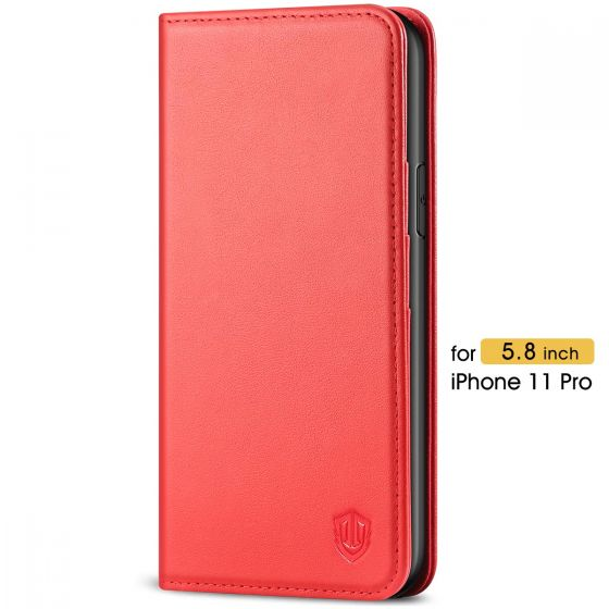 SHIELDON iPhone 11 Pro Wallet Case for Women  - iPhone 11 Pro Leather Cover with Magnetic Closure and Auto Sleep/Wake Function - Red