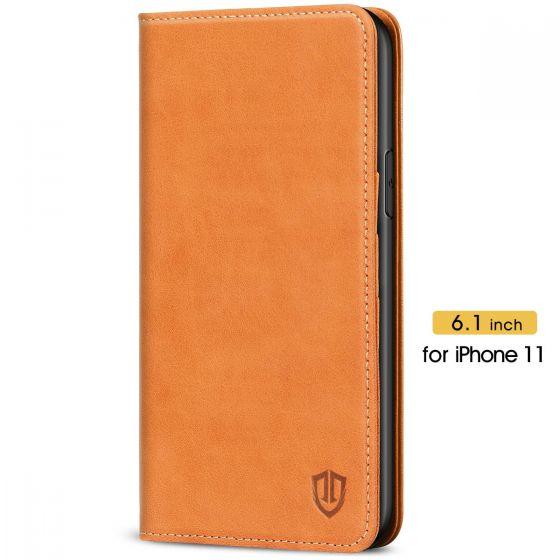 SHIELDON iPhone 11 Wallet Case - iPhone 11 Folio Case - Brown