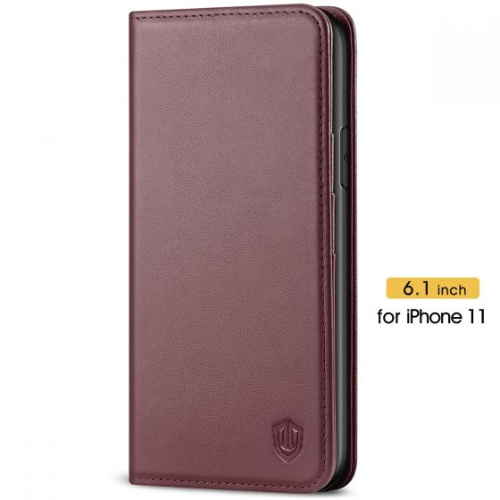 SHIELDON iPhone 11 Case with Card Holder - iPhone 11 Wallet Case for Women - Wine Red