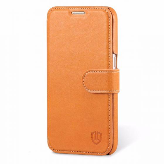 Galaxy S7 Edge Hülle, SHIELDON Ledertasche aus 100% echtem Leder für Samsung Galaxy S7 Edge, S7 Ultra-dünne Schutzhülle Lederhülle Case mit Kartenfach Magnetverschluss Standfunktion, Cognac Braun