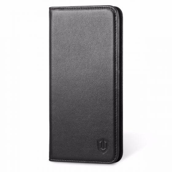 Galaxy S7 Edge Hülle Tasche, SHIELDON Schutzhülle aus Echtem Leder, Klassischen Handytasche mit unsichtbarem Magnetverschluss, Kartenfach und Standfunktion für Samsung Galaxy S7 Edge (Schwarz)