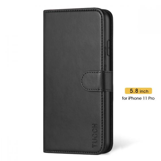 TUCCH iPhone 11 Pro Wallet Case for Men, iPhone 11 Pro Leather Cover with Magnetic Clasp - Black