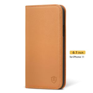 SHIELDON iPhone 11 Wallet Case - iPhone 11 Folio Case - Brown