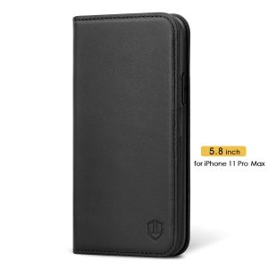 SHIELDON iPhone 11 Pro Max Genuine Leather Wallet Case - iPhone 11 Pro Max Flip Case with Auto Sleep/Wake Function - Black