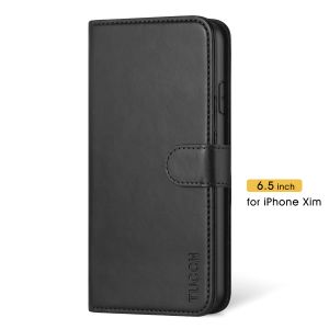 TUCCH iPhone 11 Pro Max Wallet Case for Men, iPhone 11 Pro Max Leather Cover with Magnetic Clasp - Black