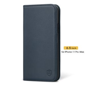 SHIELDON iPhone 11 Pro Max Wallet Case, Genuine Leather, Kick-stand, Magnetic Closure with Auto Sleep/Wake Function - Blue
