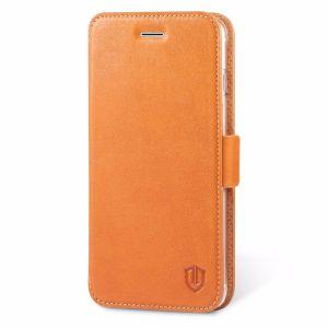 iPhone 7 Plus Hülle, SHIELDON Echt Ledertasche, ultradünne Schutzhülle mit Doppel-Magnetverschluss, Kartenfach und Standfunktion für iPhone 7 Plus, Cognac Braun