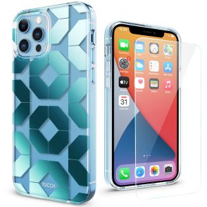 TUCCH iPhone 12 Silica Case, iPhone 12 Pro Clear Case, IML New Craft Transparent Thin Slim Scratchproof Shockproof TPU Case with Protective Glass Screen Protector for iPhone 12 / 12 Pro