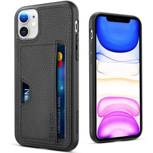 SHIELDON iPhone 11 Case, Genuine Leather + Soft TPU Bumper Cover Case Shockproof Full Protection Case Wireless Charging with Credit Card Holder Compatible with iPhone 11 (6.1-inch, 2019 Release)