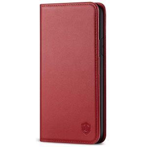 SHIELDON iPhone 11 6.1-inch Flip Leather Wallet Case - Dark Red