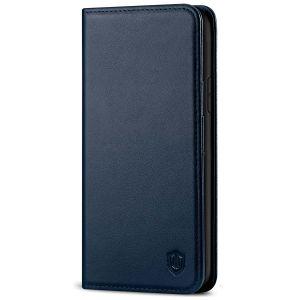 SHIELDON iPhone 11 Wallet Case, Genuine Leather, RFID Blocking, Magnetic Closure - Navy Blue