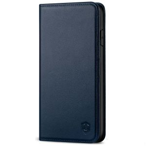 SHIELDON iPhone 11 Pro Max Wallet Case, Genuine Leather, Kick-stand, Magnetic Closure with Auto Sleep/Wake Function - Navy Blue