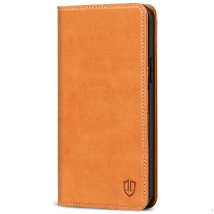 SHIELDON iPhone 13 Pro Wallet Case, iPhone 13 Pro Genuine Leather Cover with Magnetic Closure - Brown