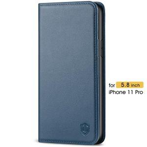 SHIELDON iPhone 11 Pro Wallet Case, Genuine Leather, Auto Sleep/Wake, RFID Blocking, Magnetic Closure - Blue