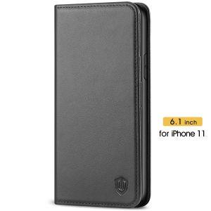 SHIELDON iPhone 11 6.1-inch Flip Leather Wallet Case - Black