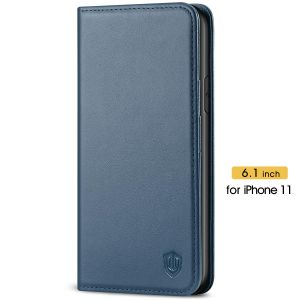 SHIELDON iPhone 11 Wallet Case, Genuine Leather, RFID Blocking, Magnetic Closure - Blue