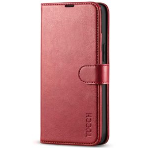 TUCCH iPhone 13 Mini Wallet Case, Mini iPhone 13 5.4-inch Leather Case, Folio Flip Cover with RFID Blocking, Stand, Credit Card Slots, Magnetic Clasp Closure - Dark Red