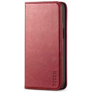 TUCCH iPhone 13 Mini Wallet Case, iPhone 13 Mini Flip Folio Book Cover, Magnetic Closure Phone Case - Dark Red