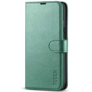 TUCCH iPhone 13 Mini Wallet Case, Mini iPhone 13 5.4-inch Leather Case, Folio Flip Cover with RFID Blocking, Stand, Credit Card Slots, Magnetic Clasp Closure - Myrtle Green