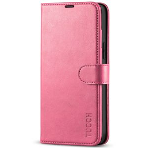 TUCCH iPhone 13 Pro Max Wallet Case, iPhone 13 Pro Max PU Leather Case with Folio Flip Book RFID Blocking, Stand, Card Slots, Magnetic Clasp Closure - Hot Pink