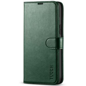TUCCH iPhone 13 Pro Max Wallet Case, iPhone 13 Pro Max PU Leather Case with Folio Flip Book RFID Blocking, Stand, Card Slots, Magnetic Clasp Closure - Midnight Green