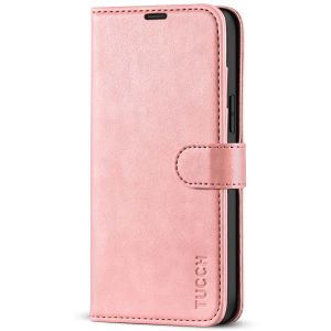 TUCCH iPhone 13 Pro Max Wallet Case, iPhone 13 Pro Max PU Leather Case with Folio Flip Book RFID Blocking, Stand, Card Slots, Magnetic Clasp Closure - Rose Gold