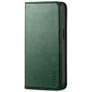 TUCCH iPhone 13 Pro Wallet Case, iPhone 13 Pro PU Leather Case with Folio Flip Book Style, Kickstand, Card Slots, Magnetic Closure - Midnight Green