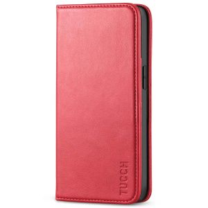 TUCCH iPhone 13 Pro Max Leather Case, iPhone 13 Pro Max PU Wallet Case with Stand Folio Flip Book Cover and Magnetic Closure - Bright Red