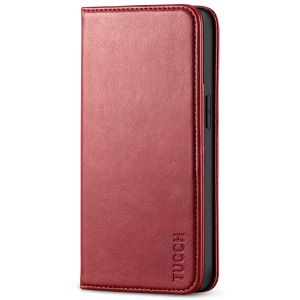 TUCCH iPhone 13 Pro Max Leather Case, iPhone 13 Pro Max PU Wallet Case with Stand Folio Flip Book Cover and Magnetic Closure - Dark Red