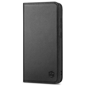 SHIELDON SAMSUNG GALAXY S21FE Flip Folio Book Kickstand Case, SAMSUNG S21 FE Genuine Leather Wallet Case - Black