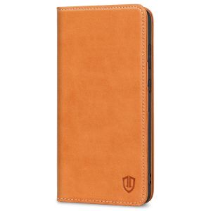 SHIELDON SAMSUNG GALAXY S21FE Flip Folio Book Kickstand Case, SAMSUNG S21 FE Genuine Leather Wallet Case - Brown