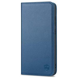 SHIELDON SAMSUNG GALAXY S21FE Flip Folio Book Kickstand Case, SAMSUNG S21 FE Genuine Leather Wallet Case - Royal Blue