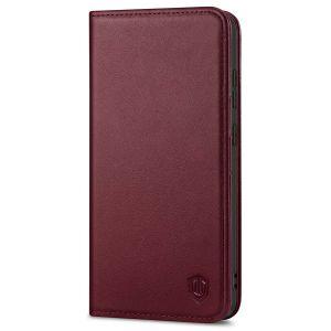 SHIELDON SAMSUNG GALAXY S21FE Flip Folio Book Kickstand Case, SAMSUNG S21 FE Genuine Leather Wallet Case - Wine Red
