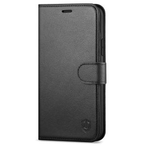 SHIELDON iPhone 12 Leather Case, iPhone 12 Cover with Magnetic Clasp Closure, Genuine Leather, RFID Blocking, Folio Kickstand Phone Case for iPhone 12 5.4-inch 5G
