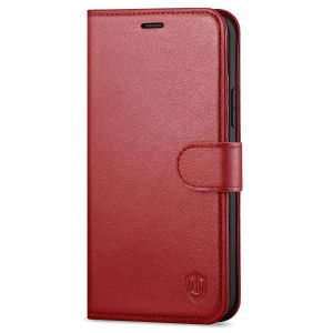 SHIELDON iPhone 12 Mini Leather Case, iPhone 12 Mini Folio Cover with Magnetic Clasp Closure, Genuine Leather, RFID Blocking, Kickstand Phone Case for Mini iPhone 12 5.4-inch 5G Dark Red