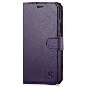 SHIELDON iPhone 12 Mini Leather Case, iPhone 12 Mini Folio Cover with Magnetic Clasp Closure, Genuine Leather, RFID Blocking, Kickstand Phone Case for Mini iPhone 12 5.4-inch 5G Purple