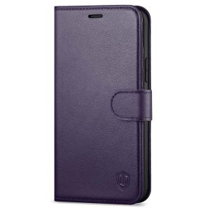 SHIELDON iPhone 12 Wallet Case, iPhone 12 Pro Wallet Cover, Genuine Leather Cover, RFID Blocking, Folio Flip Kickstand, Magnetic Closure for iPhone 12 / Pro 6.1-inch 5GDark Purple